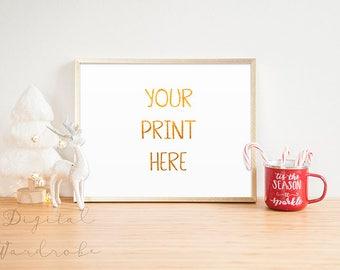 Gold Frame Christmas Xmas Mockup Mock Up w/ String Lights Christmas Tree/ Styled Empty Frame Holiday Art Print Display Horizontal Xmas Stock