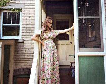 Handmade 1970's Vintage Floral Maxi Dress