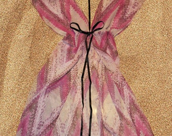 Sheer lingerie beach cover up w harness detail