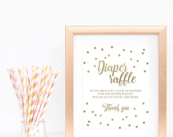 Gold Baby Shower Signs Diaper Raffle Sign White and Gold Confetti Baby Shower Decorations Baby Raffle Game Sign Printable Diapers Game GCO
