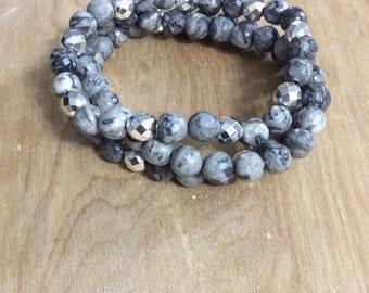 Stacking Bracelet Set | Natural Grey Netstone & Silver Hematite Stretch Bracelet Set| Beaded Bracelets | Set of 3 Bracelets | Boho Jewelry