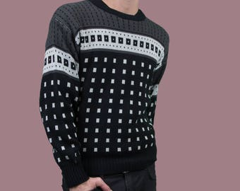 Oscar Dela Renta Sweater / Small Vintage Black and Grey Pullover / Mens Geometric Acrylic Sweater / Made in Korea
