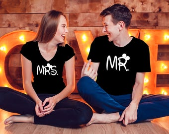 Mr and Mrs Shirts, Couples Shirts, Couple T-shirt,  Minnie Couple Shirts,  Matching Shirts, Couple Tees, Bride and Groom Shirts