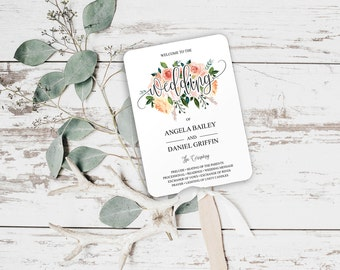 Floral Wedding Program Fan Template, DIY wedding program Fans, Floral Wedding Program Template Fold, Wedding Program Template, PDF, BD6049