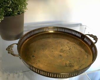 Vintage Round Circular Brass Gold Tray with Floral Handles Filigree Ridged Cutouts Chinoiserie Hollywood Regency
