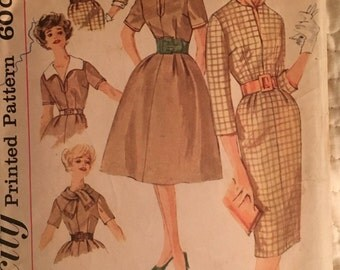 Simplicity 3153 1960s Dress dart-fitted bodice, jewel neckline, slim skirt, side zipper, detachable collar Vintage Sewing Pattern