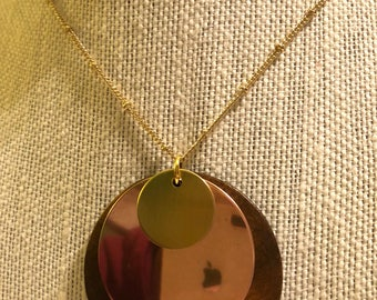 """Wood, Copper, and Brass 26"""" Necklace"""