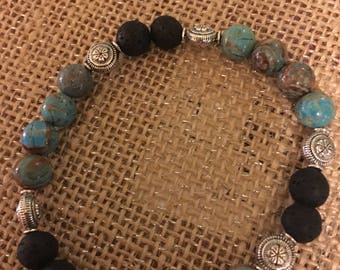 Turquoise and grey diffuser bracelet