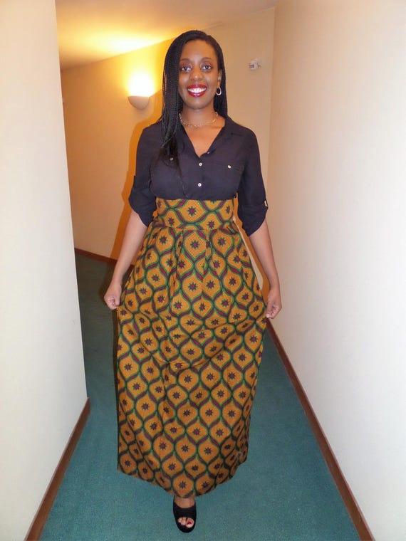 jupe longue plis creux en wax pagne africain. Black Bedroom Furniture Sets. Home Design Ideas