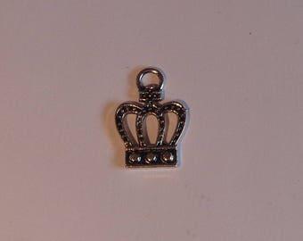 Silver metal Crown charm