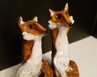 Fox Salt & Pepper Shakers: Hand Sculpted Pottery