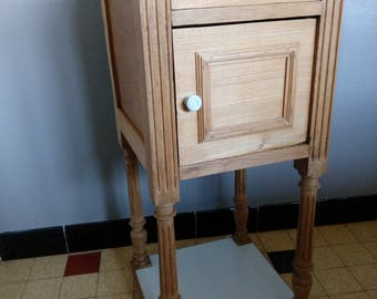 Antique Bedside table, wood and marble, a little reviewed