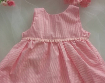 Baby dress white and pink cotton with matching bloomers