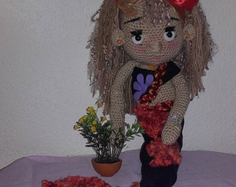 Siren red and Black wool crocheted 60 cm