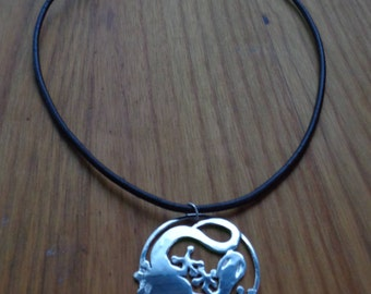 Sterling Silver Lizard Pendant Leather Necklace
