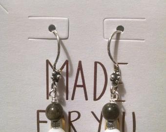 Howlite and Goldsheen Obsidian Sterling Silver Earrings