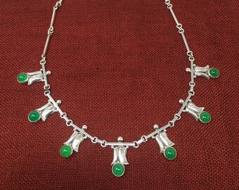 Vintage Rare Laurence Foss Sterling Silver Arts & Crafts Necklace #545D