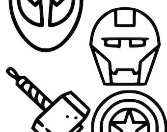 Choice of Hero Logo Vinyl Decals - Venom, Cyclops, Iron Man, Captain America's Shield and Thor's Hammer