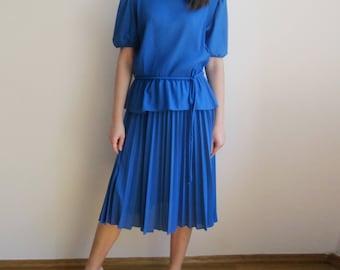 vintage 70s 80s Cobalt Blue secretary pleated peplum day dress S M