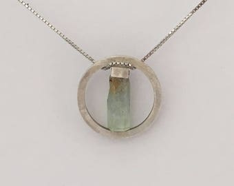 raw gemstone pendant aquamarine silver memory rough