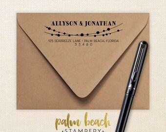 String Lights Pre-Inked Return Address Stamp - Self Inking Address Stamper - Personalized Address Stamp - Wedding or Save the Dates