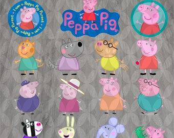 Peppa pig svg, Vector svg, Cut files, Peppa pig clipart, Eps, Dxf, Svg, Png, Instant download, Kids svg, Cartoon svg, Digital designs
