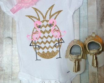 Pineapple Flamingo Onesie, Baby, Newborn, Baby Girl, Baby Shower, Handmade, Personalized, Glitter