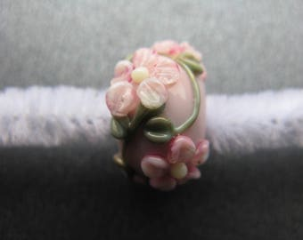 Floral Lampwork Focal Bead, Lampwork Focal Bead, Pink Blossoms, Green Leaves, Ivory, Pale Pink, Mint Green, Moss Green, OOAK Bead - HGD479
