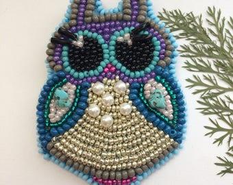Owl beaded brooch Beaded Owl of seed beads Owl brooch Seed beaded brooch Bird brooch Seed beaded jewelry Bird jewelry Bijouterie Woman gift