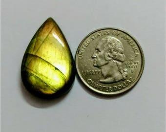 28.85 x 18.65 mm,Pear Shape/Tear Drop Labradorite Cobochon/yellow flash /wire wrap stone/Super Shiny/Pendant Cabochon/Semi Precious Gemstone