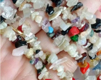 "Mix Gemtone Chips Beads, Natural Stone Chips,35"" Gemstone Chips, Jewelry Chips, 34 Inch Long Strand for DIY Jewelry Making, nugget chips"
