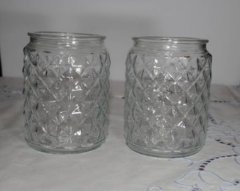 Set of 2, Vintage Clear Pressed Glass Lamp Light Fixture Jelly jar, Ceiling Light, Porch Light Globe, Fostoria American Pattern