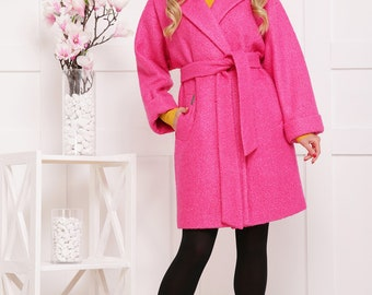 Pink coat.Long coat.Green coat.Wool coat.Oversized coat.Long coat.Coat for women.Alpaca coat.Spring coat.Fashion coat.Coat with belt
