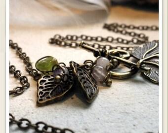 Collier de fée libellule bronze en améthyste, prenhite, péridot,  quartz rose et citrine qualité extra par Angels SignS