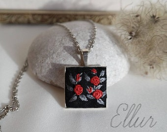 Red rose jewelry set Embroidered pendant necklace Embroidery jewelry Red rose necklace Floral necklace Wife red jewelry Eco pendant Fabric