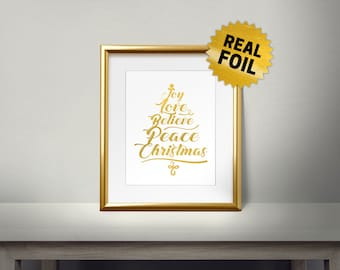 Joy, Love, Believe, Peace, Christmas, Real Gold Foil Print, Merry Christmas, Gold Wall Art, Christmas Decor, Holiday Decoration, New Year