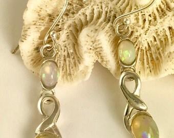 Sterling Silver Ethiopian Opal Ribbon Earrings