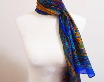 100% Silk Scarf, Scarves, Wrap, Shawl