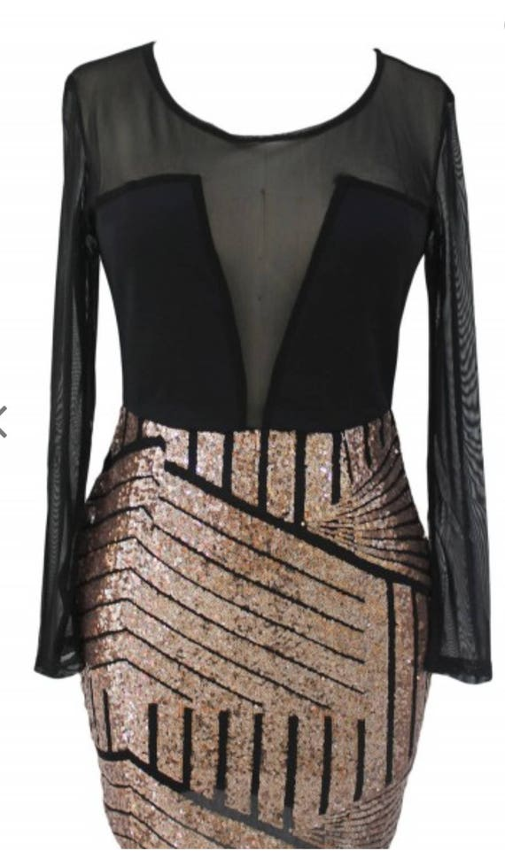 Long Sleeves Mesh  Sequin Dress