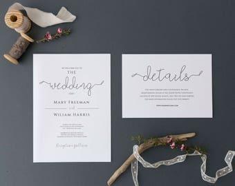 Elegant Wedding Invitation Set, Invitation Wedding Kit, Wedding Invitation Kit Template, Wedding Invitation PDF, PDF Edit, Wedding Download