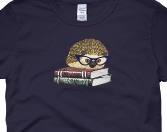 Adorable Hedgehog Book Nerd - Women's short sleeve Hedgehog t-shirt - Hedgehog Art Shirt - Cute Hedgehog Wearing Cat Glasses - Urchin Wear