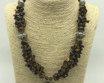 Tiger Eye Marcasite Pendant Necklace