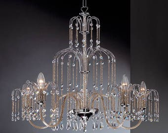 Chandelier 5 lights-chrome and Crystal Spectra-Royal collection