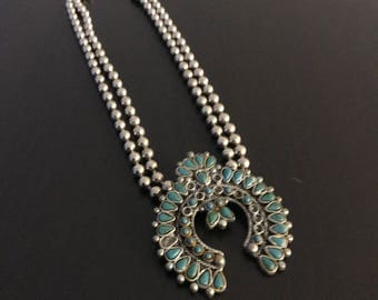 Boho silver tone metal bead neclace,faux turquoise accents