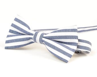 Blue Striped Bow tie, Mens Bow Tie, Mens bow tie Gift, Business Gifts, Designer bowties, Wedding Bowties, Cotton bowties, Christmas Gift
