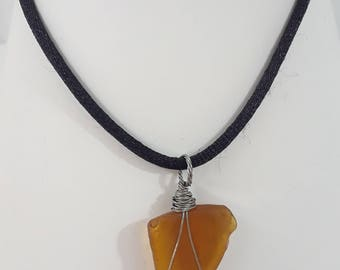 Silver Wrapped  Cider Sea Glass Pendant