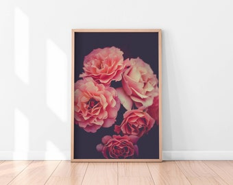 Pink Red Floral Wall Art, Floral Printable, Flowers Poster, Botanical Art Print, Printable Wall Art, Floral Art Print, Best Selling Items