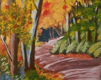 Original Forest Painting, Nature Painting, Trees, Landscape, Acrylic, Home Decor, Wall Art, Gift for Him, Gift for Her, Valentine's Day Gift
