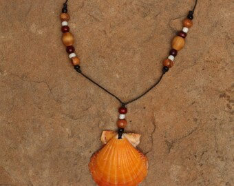 Naturally Orange Scallop Shell Necklace with Wooden Beads