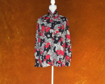 1980s Vintage Women's Pyschedelic Rose and Paisley Blouse